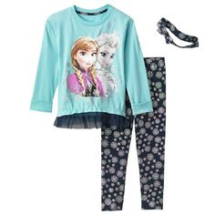 Disney Frozen Elsa & Anna Little Girls' 3 Piece Tunic & Leggings Set (5). 3-piece set includes: tunic, leggings & headband. Tunic: crewneck, long sleeves. Leggings: elastic waistband. Anna, Elsa and snowflake graphics. Imported.