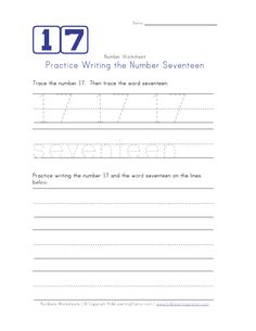 Writing Number Seventeen 17
