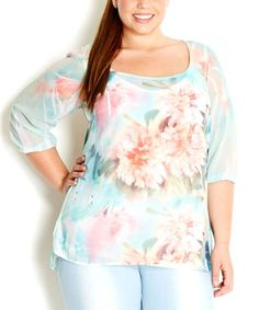 Another great find on #zulily! Honeydew Soft Watercolor Three-Quarter Sleeve Top - Plus by City Chic #zulilyfinds