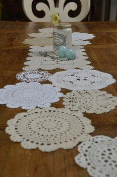 Hmmm...just realized how much doilies resemble snowflakes!  Custom Vintage Doily Table Runner  120  Inch Made to by sugarSCOUT, $88.00