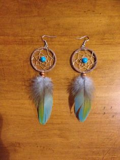 Dreamcatcher Earrings with Turquoise and Parrot Feather 4 1/2 without hook