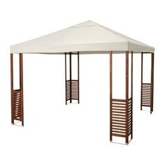 ÄPPLARÖ party tent, brown, beige and white Length: 300 cm Width: 300 cm Height: 275 cm