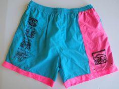 2a149a94a9b58 Details about Vtg 80s 90s Mens XL Neon COLOR BLOCK Nylon Beach Swim suit  TRUNKS Board Shorts