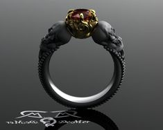 Skull engagement ring with red diamond in solid by DeMerJewelry