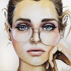 Jessica Rae Sommer - Face (for NYC) series of portrait photoshopped to drawings Beauty Illustration, Illustration Fashion, Caricature Art, Cartoon Kunst, Arte Sketchbook, Wow Art, Saatchi Online, Art Drawings, Drawing Portraits