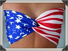 Bandeau  American Flag Bandeau Top  Spandex Bandeau by Sidewalk616, $30.00