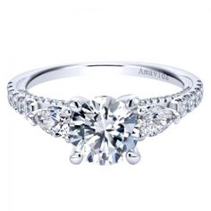 Gabriel & Co White Gold ct Diamond Straight Engagement Ring Setting Engagement Solitaire, Classic Engagement Rings, Round Diamond Engagement Rings, Diamond Solitaire Rings, Engagement Ring Settings, Solitare Ring, Marquise Diamond, White Gold Diamonds, Round Diamonds