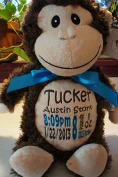 Personalized stuffed animal monogrammed baby by sewstylinstitches personalized stuffed animal monogrammed baby by sewstylinstitches babies like kittens but cuter maybe pinterest animal babies and baby fever negle Images