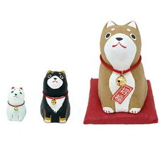 Japanese Hariko (Papier-mache) Doll Shiba Inu Dog Set of 3 Maneki Neko, Japanese Paper, Shiba Inu, Large Dogs, Teddy Bear, Dolls, Cats, Handmade, Ebay