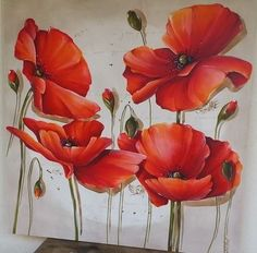 Tulip Painting, Acrylic Painting Flowers, Acrylic Painting Techniques, Abstract Flowers, Painting Tips, Watercolor Poppies, Watercolor Paintings, Acrylic Painting Inspiration, Diy Artwork
