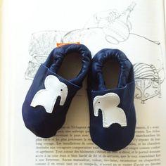 "Petits chaussons en cuir nappa ""Deluxe Elephant"" disponibles sur www.sheepandtales.com"