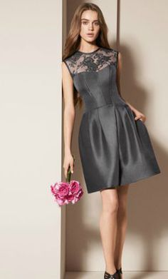 White by Vera Wang Mikado Corded Lace Illusion Neckline Dress Style VW360156 #davidsbridal #grayweddings