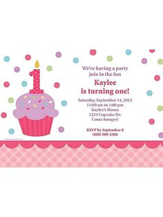 CUPCAKE 1ST BIRTHDAY GIRL PERSONALIZED I