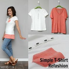 Sew T-Shirt Simple Tshirt Refashion - How To Fix A Short Shirt - Swoodson Says - A simple tshirt refashion to make a tunic length top! A tutorial for how to make a tshirt longer, with sewing instructions and step by step photos. Diy Clothes Refashion, Shirt Refashion, Refashioned Clothes, Diy Shirt, Sewing Hacks, Sewing Tutorials, Sewing Patterns, Sewing Projects, Umgestaltete Shirts