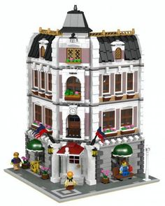 lego store mocs | LEGO Set MOC-1728 - Coffee Shop & Library
