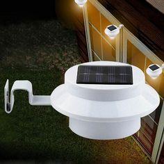 White Solar Powered LED Outdoor Light Lamp Fence Gutter Roof Yard Wall Garden JS