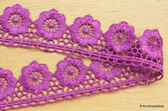 Purple Embroidered Flower Lace Trim Ribbon Approx by KnicKnackNook Embroidered Flowers, Floral Embroidery, Lace Ribbon, Flower Shape, Cute Cards, Altered Art, Lace Trim, Crochet Earrings, Handmade Items