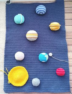 Crochet Wallhanging decor Pattern. Crocheted space and planets of the solar system ( Earth, Mercury, Venus, Saturn, Uranus, Neptune, Jupiter, Mars), the asteroid belt, the sun. The planets are fastened with Velcro, removed from the base. Crochet Animal Patterns, Crochet Doll Pattern, Stuffed Animal Patterns, Crochet Patterns Amigurumi, Crochet Dolls, Handmade Ideas, Handmade Crafts, Pattern Cute, Asteroid Belt