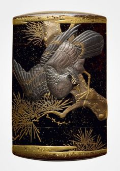 Lacquer inro with hawks perched on pine trees by Joyusai, 1850s, Japan