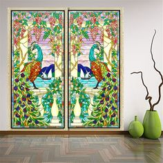 "Amazon.com: OstepDecor Custom Peacock Translucent Non-Adhesive Frosted Stained Glass Window Films, 2 Panels * (18"" W x 60"" H): Home & Kitchen"
