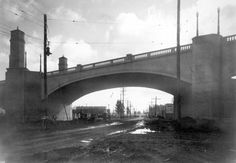 1928-Glendale-Hyperion Viaduct, view east under arch over Riverside Drive.