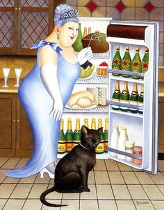 A Beryl of Laughs! A tribute to the life-affirming 'fat ladies' painter Beryl Cook She And Her Cat, Beryl Cook, Gatos Cat, Plus Size Art, Black Cat Art, Black Cats, City Museum, English Artists, Fat Women
