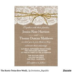Love this one!         The Rustic Twine Bow Wedding Collection Card
