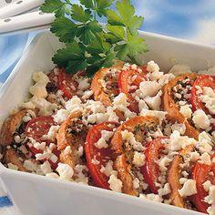 Tomaten-Brot-Gratin mit Feta