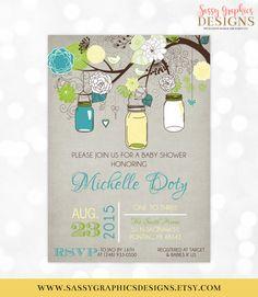 Mason Jars Baby Shower Invitation Gender Neutral Teal Green Yellow Floral Rustic Shabby Chic Mason Jars DIY Printable Invite PDF by SassyGraphicsDesigns