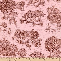 Pastoral Toile Pink/Chocolate Brown