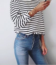 Striped shirt outfit, stripes and jeans, striped long sleeve top, high waisted jeans, outfits for school.