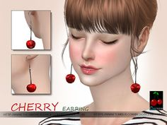 Cherry earrings N02 by S-Club WM at TSR • Sims 4 Updates