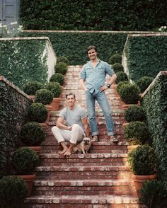 Landscaping Photo - Michael Griffin and Mark D. Sikes on the brick steps leading to their home in the Hollywood Hills