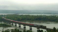 TVC Rajdhani on the Sharavathi Bridge on Konkan Railway during the monsoons #EPIC!