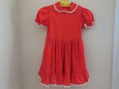 SALE Size 5 Vintage Girl Red Frilly Lace Ruffle by LittleMarin