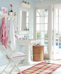 Red & white bathroom!