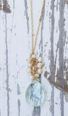 Blue quartz briolette on 14k gold filled chain necklace with pearls