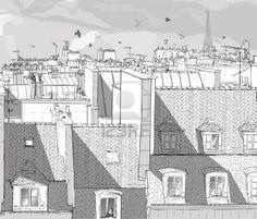 Vector illustration dun point de vue sur les toits de Paris avec la Tour Eiffel Banque dimages