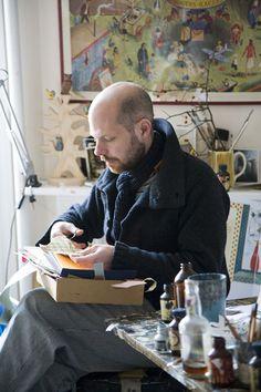 The lovely Mark Hearld in his lovely home