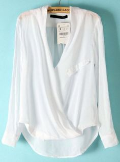 White Long Sleeve Front Cross Dipped Hem Blouse pictures