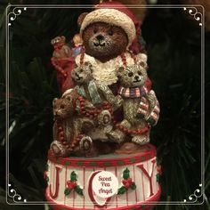 "This is our lovely Teddy Bears ornament. It says ""JOY"" at the bottom!"