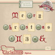 Merry Christmas Alphas by Flower Scraps #flowerscraps #thestudio #digitalscrapbooking