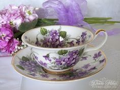 tea cup and saucer with violets Vintage China, Vintage Tea, Teapots And Cups, Teacups, Sweet Violets, China Tea Cups, My Cup Of Tea, Tea Service, Teller