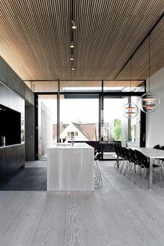 Grey hardwood floors - How to combine gray color in modern interiors? Contemporary Interior Design, Modern Interior, Interior Architecture, Modern Design, Küchen Design, House Design, Design Trends, Design Ideas, Grey Hardwood Floors