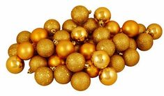 "Vickerman 96 Count Antique Gold Shatterproof 4-Finish Christmas Ball Ornaments, 1.5"" ** Details can be found by clicking on the image."