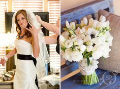 White bouquet + black and white gown. Arizona wedding at Royal Palms Resort.