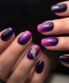 Stunning Purple Blue to Pink Nail Art Designs for Prom