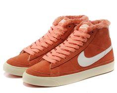innovative design 91593 59999 Cheap Nike BLAZER MID PRM 403729 800 orange white fur women shoes