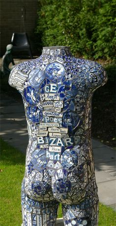 Mosaic by Mieke Dondorp Mannequin Torso, Mannequin Art, Blue And White China, Love Blue, Mosaic Art, Mosaic Glass, Art Vintage, Mosaic Madness, White Decor