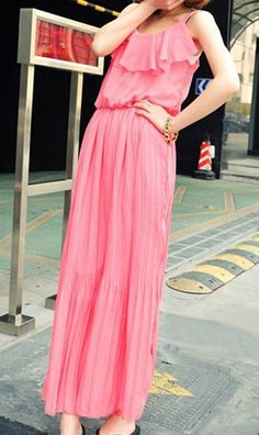 Bohemian peplum neck long chiffon dresses Watermelon Red